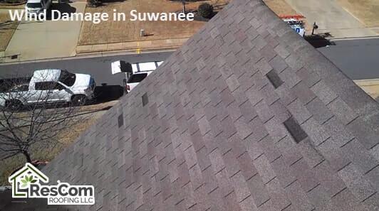 Shingle has wind damages in Suwanee Georgia
