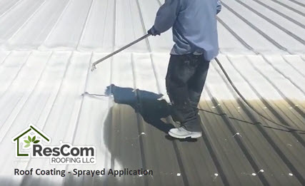 Roof coating via spray application at ResCom Roofing